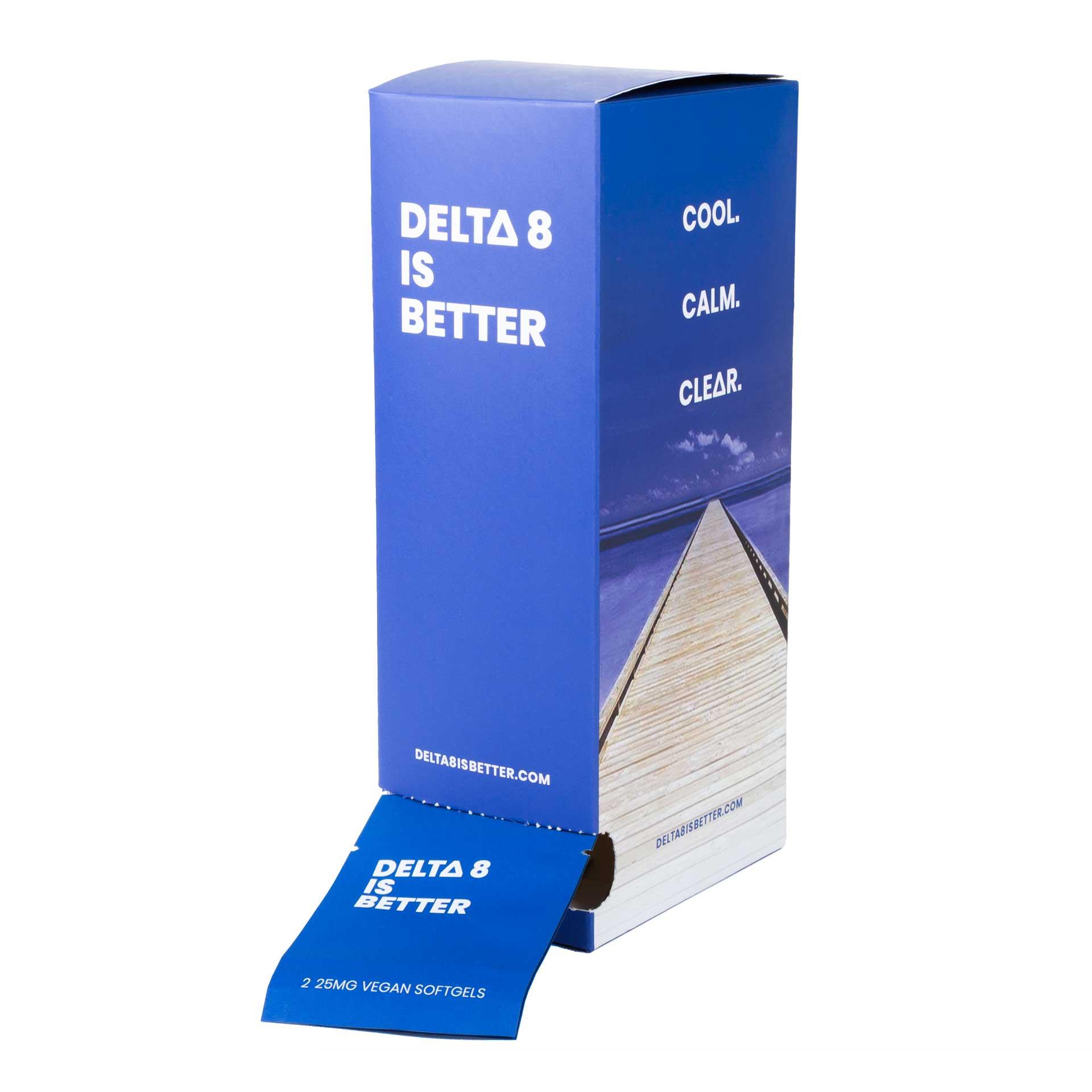 DELTA 8 IS BETTER 25MG VEGAN SOFTGELS 30 PACKET DISPENSER