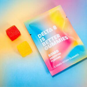 DELTA 8 is Better. Natural Delta-8 Vegan Gummies. 25MG 2 count packet.