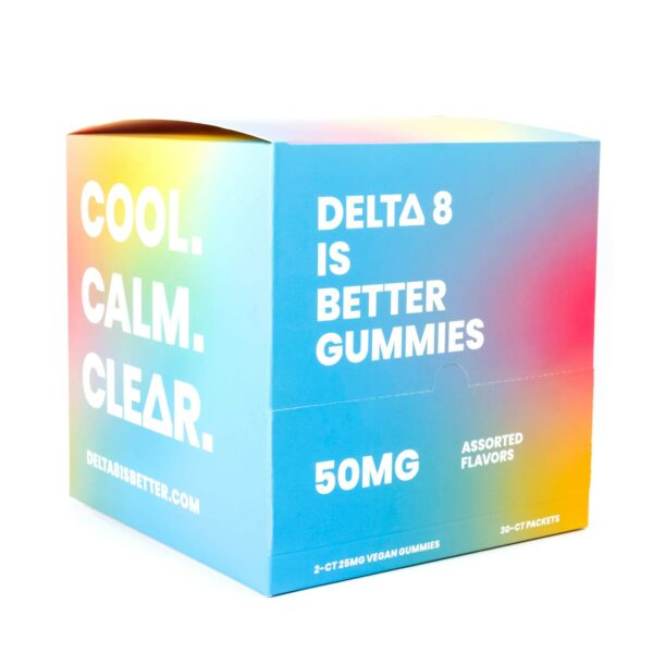 DELTA 8 IS BETTER 25MG VEGAN GUMMIES 30-PACKET DISPENSER